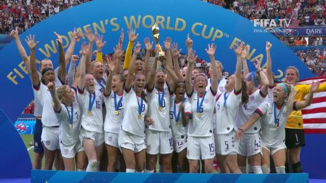 USWNT celebrates after their World Cup victory.