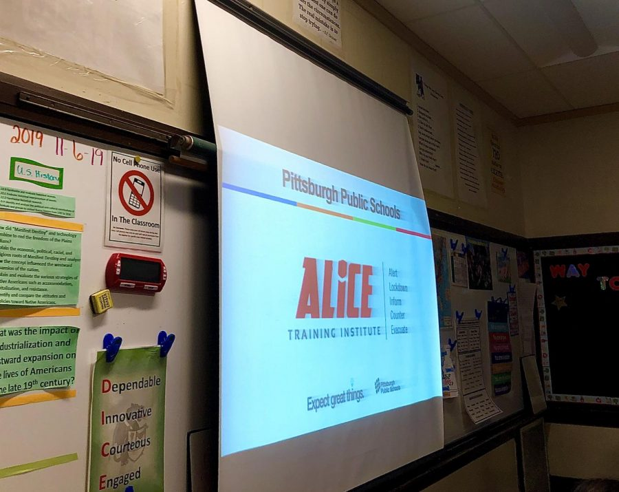 Students are trained in homeroom classes on ALICE procedures.