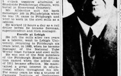 Taylobr Allderdice's Obituary article from the Pittsburgh Press, 1934