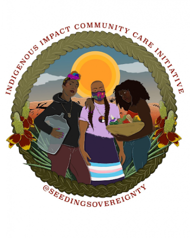 Artwork promoting Seeding Sovereigntys program that aids Indigenous communities fighting COVID.