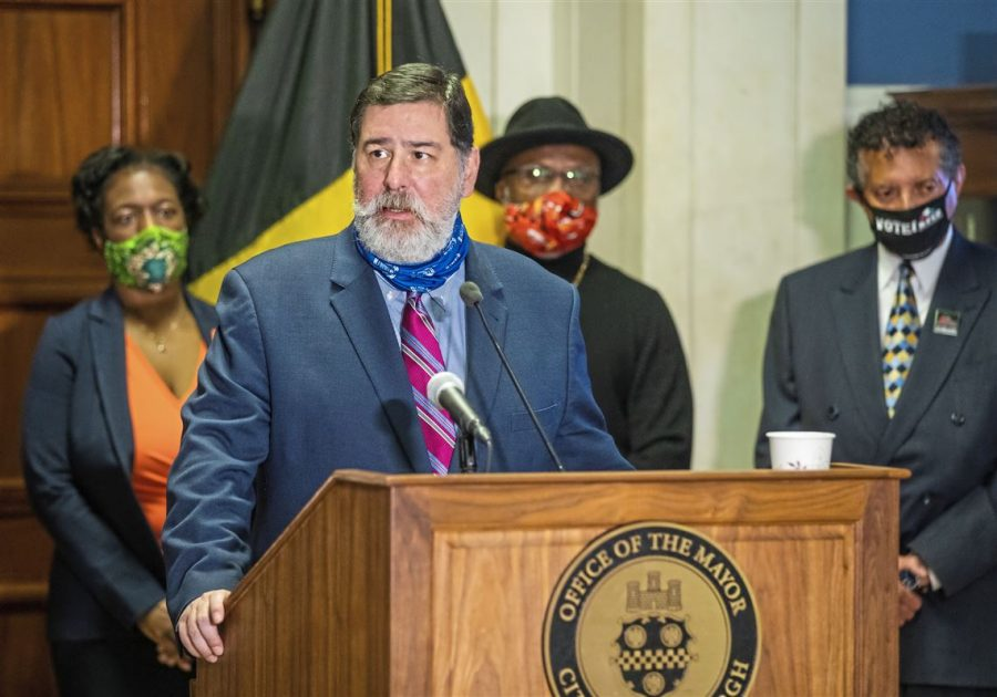 Mayor Bill Peduto speaking at a press conference on the release of this task force report. (Andrew Rush/Post-Gazette, 2020)