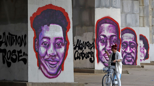 Depictions of Antwon Rose, Ahmaud Arbery, George Floyd, and Breonna Taylor.