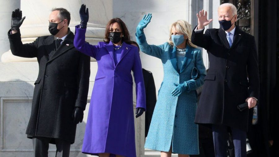Second gentleman Douglas Emhoff, Vice President Harris, First Lady Dr. Jill Biden and President Biden on Inauguration Day. (Getty Images)