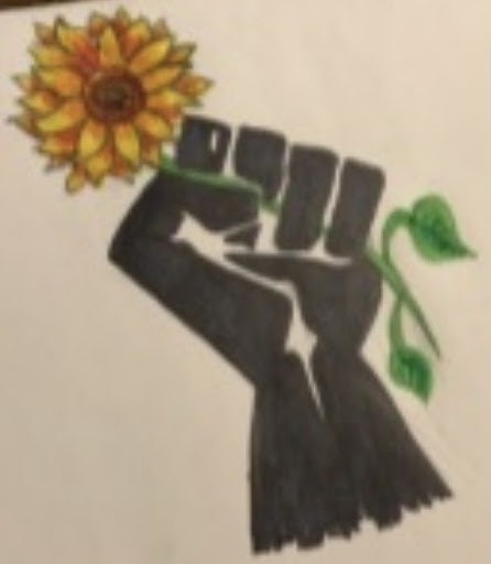 """Bienkowski said that senior Daynell Griffin """"made a sketch that showed a Black fist holding a sunflower that I still have on some of my [daily slideshow] endnotes just because I like the image so much."""""""