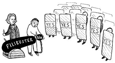 The fundamental irony of the Filibuster, portrayed as a cartoon
